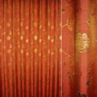 Шенилл жаккардовый красный с зол.цветами и веточками ш.280 оптом