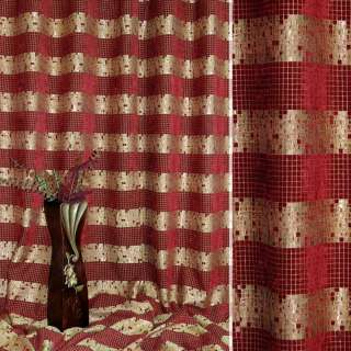 Шенилл жаккардовый с метанитью бордово-бежевый, полоски в квадраты, ш.280 оптом