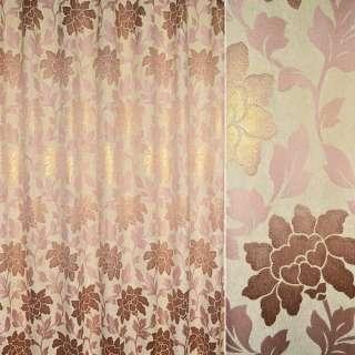 Шенилл жаккардовый с метанитью кремовый с розово-золотистыми цветами и листьями ш.280 оптом
