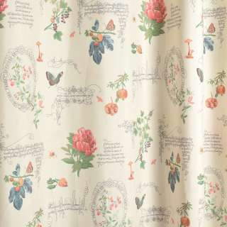 Коттон портьєрний молочний, квіти, метелики, ягоди, вензелі, ш.280 оптом