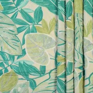 Коттон портьерный кремовый в зеленые и салатовые листья, ш.280 оптом