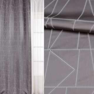 Жакард для штор візерунок геометричний білий на сірому тлі, ш.143 оптом