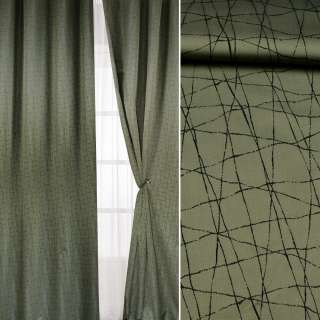 Жакард для штор лінії чорні на оливковому темному тлі, ш.142 оптом