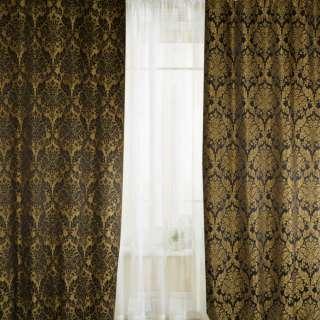Жакард д2-х стор.для штор золотистий вензель на чорному тлі, ш.140 оптом