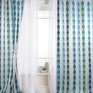 Атлас білий з блакитною, синьою, зеленою вишивкою хвилі, краплі, ш.147 оптом
