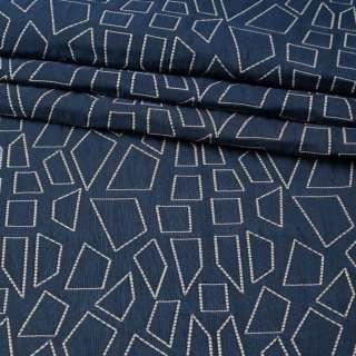 Стьобана тканина інтер'єрна чотирикутники білі на синьому тлі (фіолетова виворіт), ш.135 оптом
