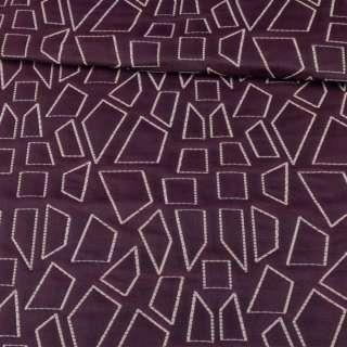 Стьобана тканина інтер'єрна чотирикутники білі на фіолетовому тлі (синя виворіт), ш.135 оптом