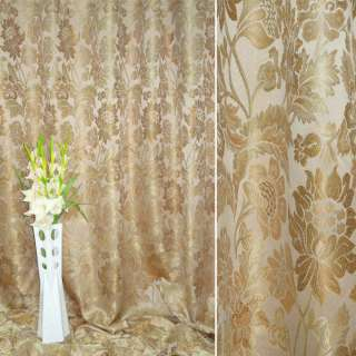 Жаккард порт. песоч.с золот. круп.цвет.и лист.ш.290 оптом