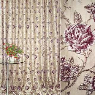 жаккард порт. св/бежевый с вишневыми розами ш.280 оптом