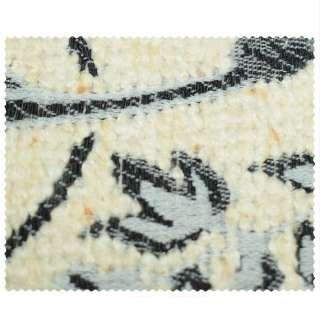 ткань обивочная молочная с серо-черными цветами оптом