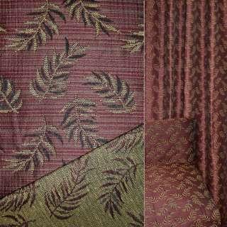 гобелен обив. темно-красный с листьями, ш.150 оптом