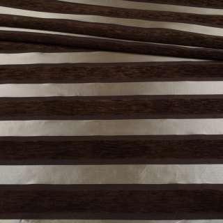 Шенілл меблевий смужки шовкові сріблясті на коричневому тлі, ш.143 оптом