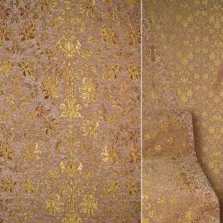 Шенилл обивочный коричневый светлый с золотисто-красными мелкими цветами оптом