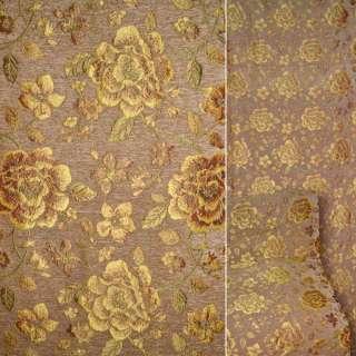Шенилл обивочный коричневый светлый с красно-золотистыми цветами ш.140 оптом