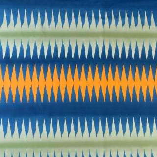 Ткань скатертная в синюю, зеленую, оранжевую полоску-зигзаг, ш.150 оптом