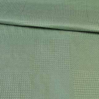 Рогожка деко зеленая в вафельную клетку, ш.145 оптом