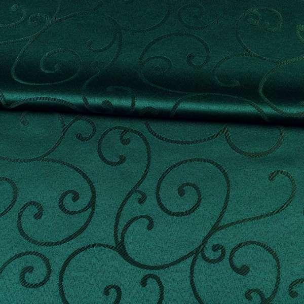 Жаккард скатертный завитки зеленый темный, ш.320 оптом