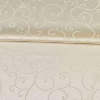 Жаккард скатертный завитки молочный, ш.320 оптом