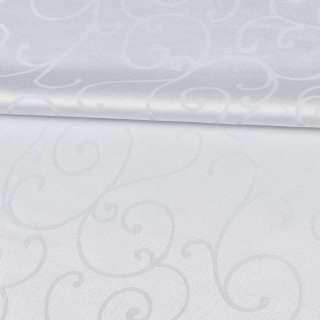 Жаккард скатертный завитки белый, ш.320 оптом