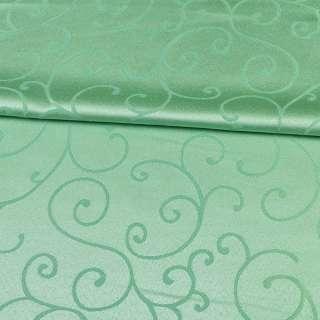 Жаккард скатертный завитки зеленый светлый, ш.320 оптом