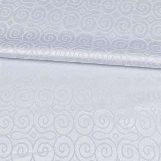 Жаккард скатертный круглые завитки белый, ш.320 оптом