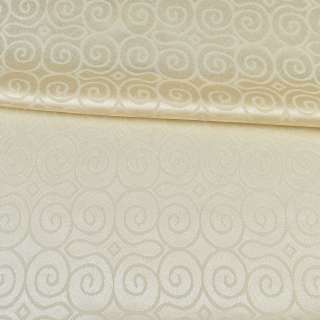 Жаккард скатертный круглые завитки кремовый, ш.320 оптом