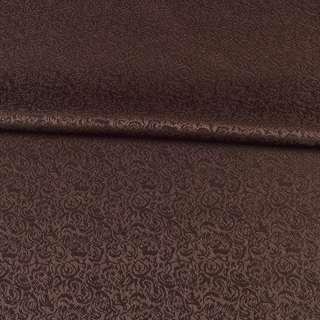жаккард скатертный мелкие цветки коричневый, ш.320 оптом