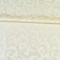 жаккард скатертный листья и завитки кремовый, ш.320 оптом
