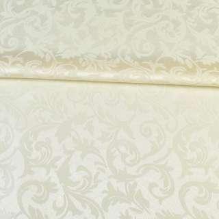 Жаккард скатертный листья и завитки молочный, ш.320 оптом