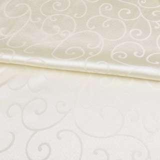 жаккард скатертный завитки кремовый светлый, ш.320 оптом