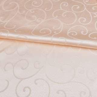 жаккард скатертный завитки персиковый светлый, ш.320 оптом