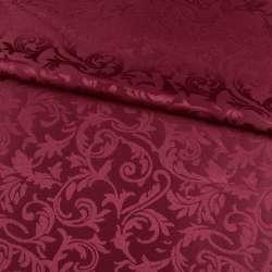 жаккард скатертный листья и завитки бордовый, ш.320 оптом
