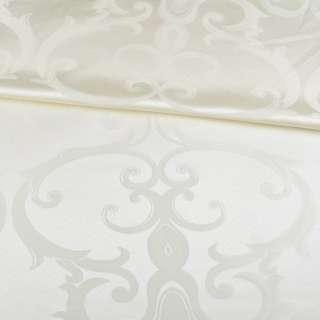 Жаккард скатертный крупные завитки молочный, ш.320 оптом