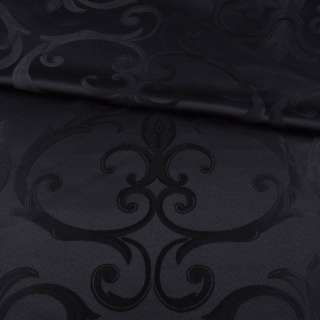 Жаккард скатертный крупные завитки черный, ш.320 оптом