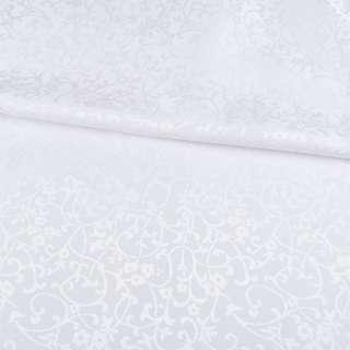 Жаккард скатертный цветы, ветки белый, ш.320 оптом