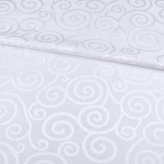 Жаккард скатертный спиральные завитки белый, ш.320 оптом