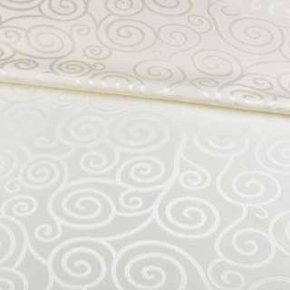 Жаккард скатертный спиральные завитки молочный, ш.320 оптом