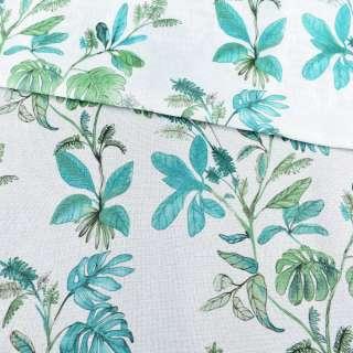 Рогожка белая в зеленые и бирюзовые листья, ш.280 оптом