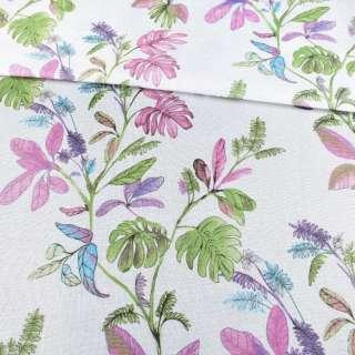 Рогожка белая в зеленые и сиреневые листья, ш.280 оптом