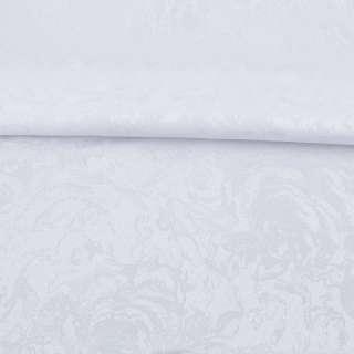 Жаккард скатертный розы крупные белый, ш.320 оптом