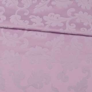 Жакард скатерковий листя з завитками бузковий, ш.330 оптом