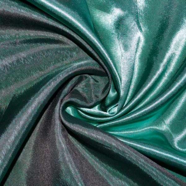 Атлас портьерный хамелеон бирюзово-черный ш.280 оптом