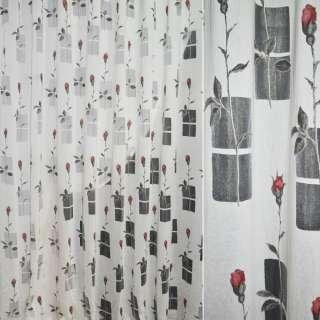 Деворе портьерное белое в серые прямоугольники и красные розы оптом