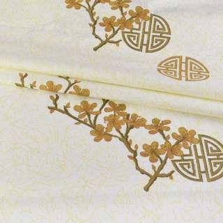 бязь набив. кремовая с бело-желтым серпантином, коричневыми ветками, ш.220 оптом