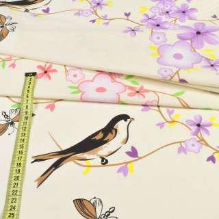 бязь набивн. кремовая с птицами и цветущ. веточками ш.220 оптом