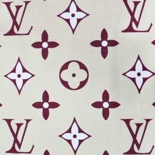 бязь набив. песочная с бордовыми цветами и логотипом LV ш.220 оптом