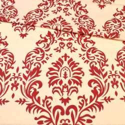 бязь набив. кремовая в бордовый цветочный узор ш.220 оптом