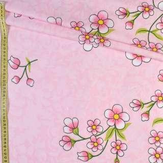 Бязь набив. розовая в цветы, ш.220 оптом