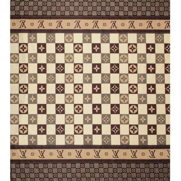 бязь набив. коричневые и бежевые квадраты c логотипом LV, ш.220 оптом