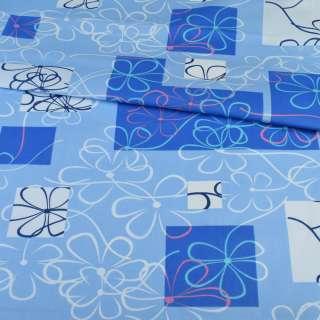 бязь набив. сине-голубые квадраты с цветами, ш.220 оптом